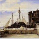 Corot Waterfront Tile Mural Backsplash Construction Commercial