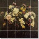 Fantin-Latour Flowers Tile Mural Shower Remodel House Modern