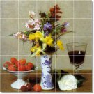 Fantin-Latour Flowers Tiles Wall Bathroom Shower House Decor