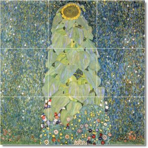 Klimt Flowers Shower Mural Tile Bathroom Remodeling Home Ideas