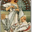 Mucha Poster Art Floor Kitchen Mural Construction Decorate Home