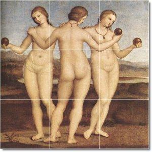 Raphael Nudes Murals Tile Wall Shower Interior Renovate Design