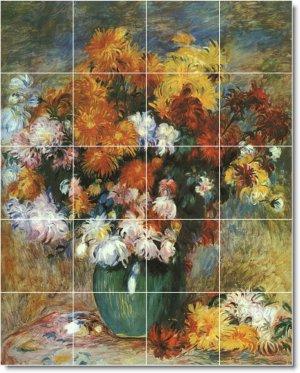 Renoir Flowers Mural Shower Tile Bathroom Home Renovations Idea