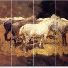Sargent Horses Shower Bathroom Tiles Wall Construction Interior