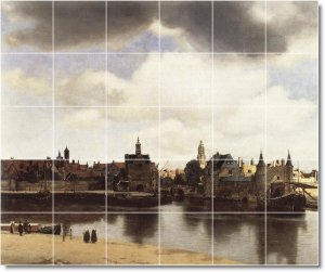 Vermeer City Tiles Living Mural Room Wall Idea Home Remodeling
