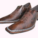 New Fiesso Hand Stitched Brown Shoe w/Nice Design Size9