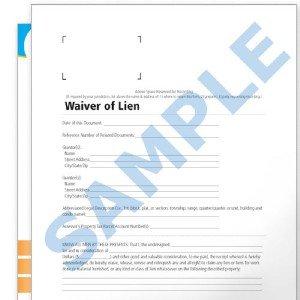 Real Estate Waiver of Lien Forms Property Lienholder
