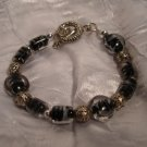 Eclipse Bracelet: Black and White Glass Beads