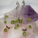 Christine Earrings: Green Glass Dangle Earrings