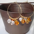 Victoria Earrings: Gold Hoops, Amber Drops