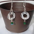 Dragonia Earrings: Shimmering Green Drop, Silver Circle