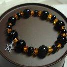 Jet Obsidian and Amber Bracelet