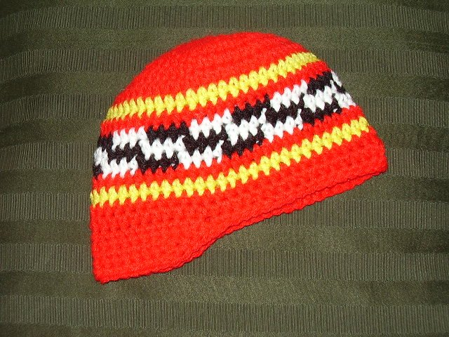 Red Crochet Bebop Hat  With Multicolor Checkered Design, Size 12-18 months