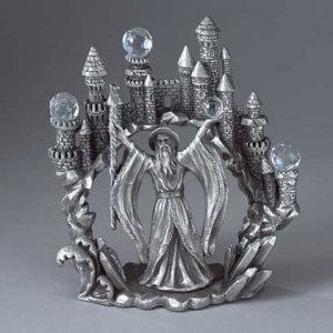Pewter Merlin and Castle