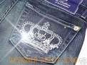 ROCK & REPUBLIC AND VICTORIA BECKHAM WHITE CROWN SWAROVSKI CRYSTALS JEANS