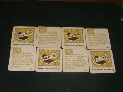 8 Falstaff Bar Coasters Double Sided