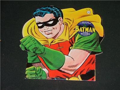 Batman,Robin,& Batmobile 3D Die Cut 45 RPMs 1966