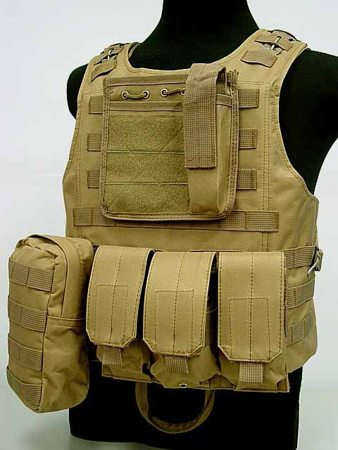 US Molle Combat Assault Plate Carrier Vest Coyote Brown