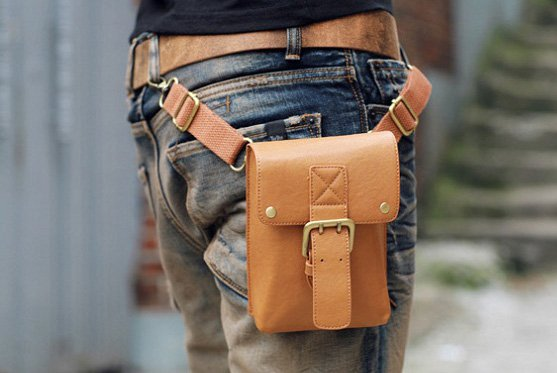 NEW FASHION MEN'S PURSE WAIST SHOULDER PU LEATHER BAG