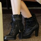 Punk Rock BLACK GOTH PUNK ROCK BAND BUCKLE BOOTS