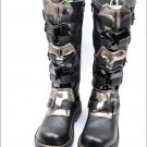 Punk Rock MENS BLACK GOTH PUNK ROCK BAND BUCKLE BOOT as