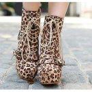Punk Rock Brown Leopard BUCKLE BOOTS A9