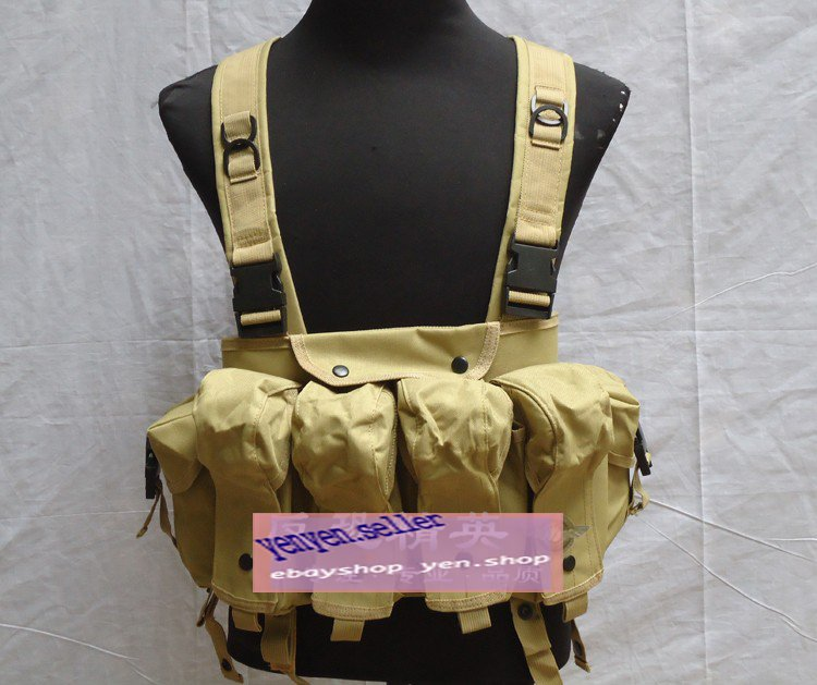 Tactical 4 Pouches Magazine Carry Chest Rig Vest