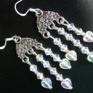 Heart Clear AB Iridescent Crystal Chandelier Earrings