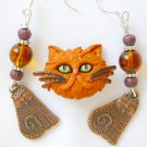 Orange Ginger Acrylic Cat Pin Brown Bead Tabby Charm Earrings Pendant Set