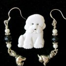 White Acrylic Bichon Frise Dog Pin Crystal Charm Earrings Pendant Set