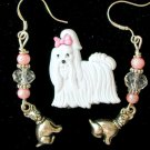 White Acrylic Shih Tzu Dog Pin Crystal Charm Earrings Pendant Set