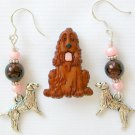 Brown Acrylic Cocker Spaniel Dog Pin Brown Charm Earrings Pendant Set