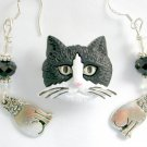 Black White Tuxedo Acrylic Cat Pin Crystal Charm Earrings Pendant Set