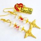 Medical Nurse Caduceus Crystal Charm Earrings & Health Pin Gift Set