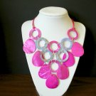 NWT Carol Dauplaise Fucshia Pink Blue Violet Shell Necklace