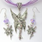 Fairy Posing Pretty Charm Pendant Organza Purple Necklace and Crystal Earrings