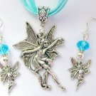 Fairy Dancing Around Charm Pendant Aqua Organza Necklace and Crystal Earrings