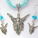 Angel Fairy Charm Pendant Aqua Blue Organza Necklace and Crystal Earrings