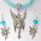 Fairy Posing Charm Pendant Aqua Organza Necklace and Crystal Earrings