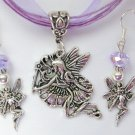 Fairy in Flight Charm Pendant Purple Organza Necklace and Crystal Earrings