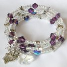 Iridescent Clear and Purple Bead Butterfly Bangle Bracelet Lot