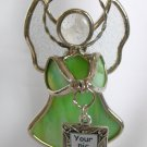 Stained Glass Ganz Green Angel Ornament Sun Catcher Picture Frame Charm