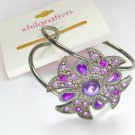 NWT Xhilaration Cuff Bracelet Purple Crystal Cross