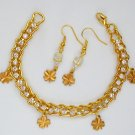Four Leaf Clover Charm Rhinestone Gold Tone Tennis Bracelet Earrings
