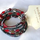 NWT Sonoma genuine shell bead navy blue red 5 row memory wire bracelet