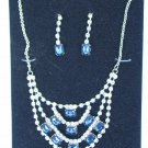 NWT blue and clear rhinestone necklace and earrings set