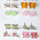 Butterfly Dragonfly Fairy Angel Pink Purple Mini Charm Earrings Lot