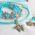 NWT aqua crystal bead rhinestone butterfly stretch bracelet earrings pendant set