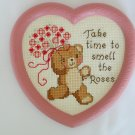 Bear flower Take Time to Smell the Roses heart completed cross stitch