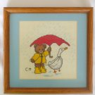 Bear yellow raincoat red umbrella & goose friend completed cross stitch